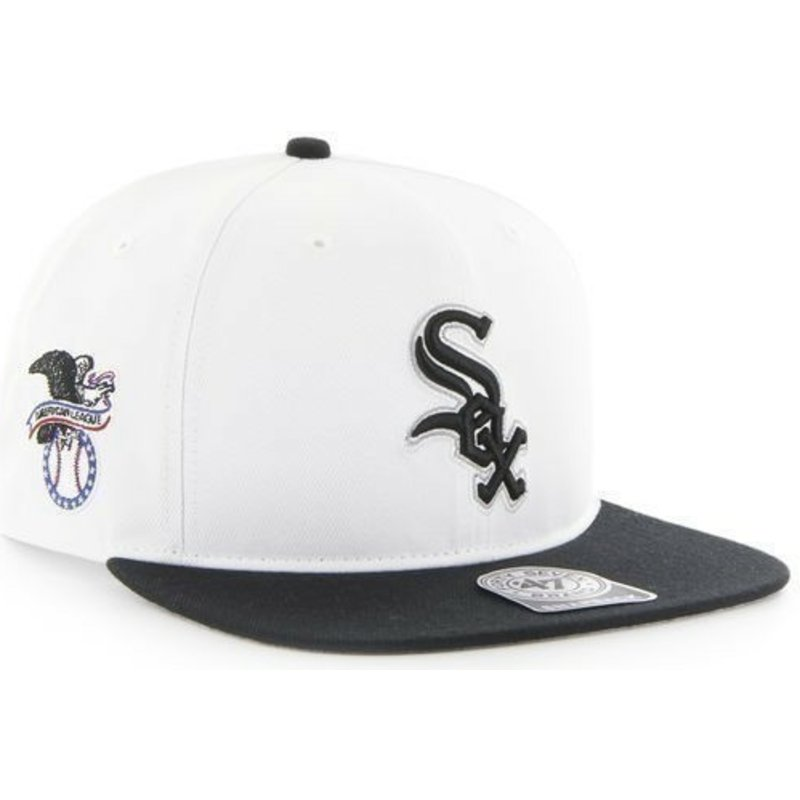 47-brand-flat-brim-side-logo-mlb-chicago-white-sox-smooth-white-snapback-cap
