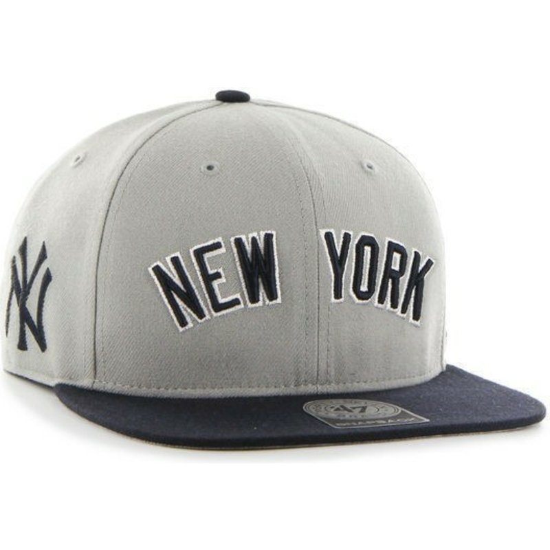 47-brand-flat-brim-side-logo-mlb-new-york-yankees-grey-snapback-cap