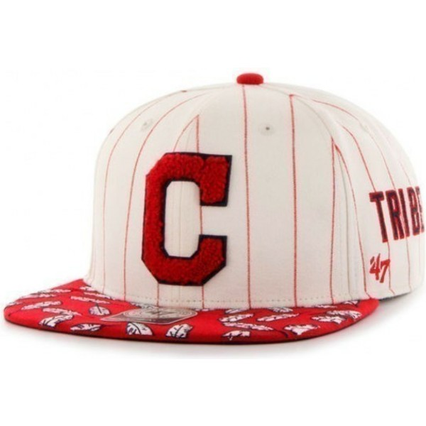 47-brand-flat-brim-red-striped-side-lettering-mlb-cleveland-indians-cream-snapback-cap