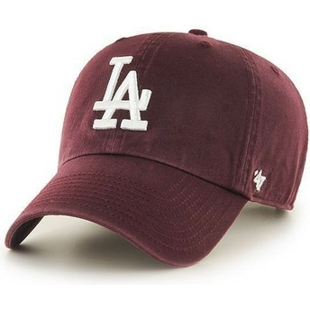 47 Brand Curved Brim Los Angeles Dodgers MLB Clean Up Maroon Cap