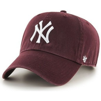 47 Brand Curved Brim New York Yankees MLB Clean Up Maroon Cap