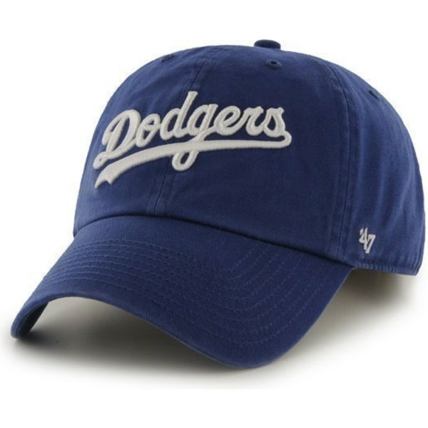47-brand-curved-brim-script-logo-los-angeles-dodgers-mlb-clean-up-blue-cap