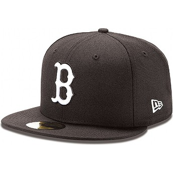 New Era Flat Brim 59FIFTY Essential Boston Red Sox MLB Black Fitted Cap