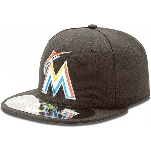 new-era-flat-brim-59fifty-authentic-on-field-miami-marlins-mlb-black-fitted-cap