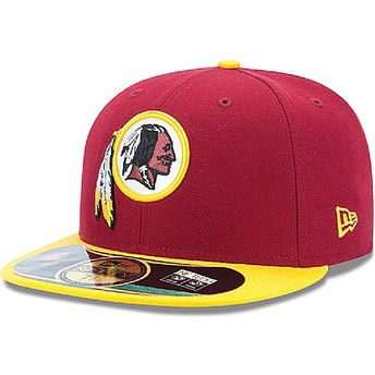 New Era Flat Brim 59FIFTY Authentic On-Field Game Washington Redskins NFL Red Fitted Cap