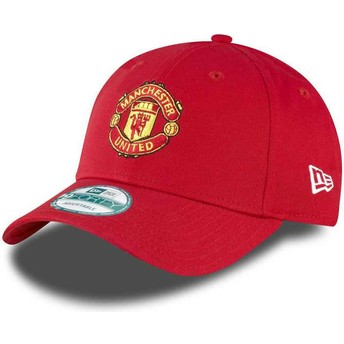 New Era Curved Brim 9FORTY Essential Manchester United Football Club Red Adjustable Cap