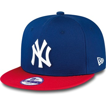 New Era Flat Brim Youth 9FIFTY Cotton Block New York Yankees MLB Blue Snapback Cap