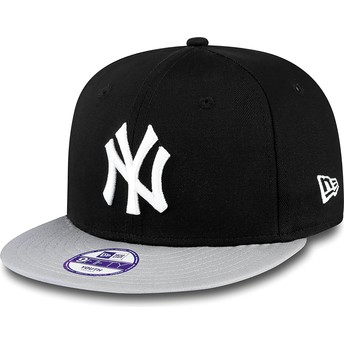 New Era Flat Brim Youth 9FIFTY Cotton Block New York Yankees MLB Black Snapback Cap