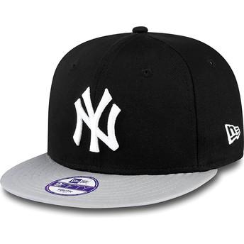 New Era Flat Brim Youth 9FIFTY Cotton Block New York Yankees MLB Black Snapback Cap