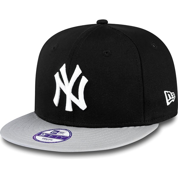 new-era-flat-brim-youth-9fifty-cotton-block-new-york-yankees-mlb-black-snapback-cap