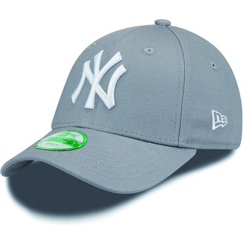 New Era Curved Brim Youth 9FORTY Essential New York Yankees MLB Grey Adjustable Cap